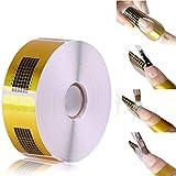 Ealicere 500 Stück Nagel-Schablonen,Nagel Schablonen Selbstklebende Modellier für Gel-Nägel & Nagel-Verlängerung Golden Schablonen
