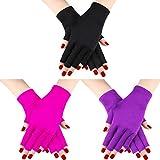 3 Paar UV Shield Handschuh Gel Maniküre Handschuh Anti UV Fingerlose Handschuhe Schützen die Hände vor UV-Licht Lampe Maniküre Trockner (Farbe Set 3)