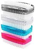 com-four® 4X Handwaschbürste, Nagelbürste aus Kunststoff, Bürste, Reinigunsbürste, 9 x 3,5 cm (4 Stück - Mix 1)