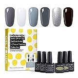 Lagunamoon UV Nagellack, Gel Nagellack UV LED 6 Farben Set für Nageldesign Gel Polish Soak off Gel Nagellack Fairest grey Romance