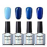 UV Nagellack Gel Shellac Set Nail Polish Set Soak Off UV LED Gel Gellack Blau Farbe von Fairyglo 4 X 10ml-Blau C012