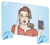 Hochwertiger Spuckschutz Plexiglas aus Acrylglasplatte - sichern Spuckschutz Thekenaufsatz mit Durchreiche - Glasklar Plexiglas Schutzwand - Virenschutz -Plexiglasplatten Breite 100 cm, Höhe 75 cm