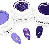 3 x 5 ml - exclusives UV Colorgel - Kreativset Nummer 174 - KS-174 - Farbgelset - Lila