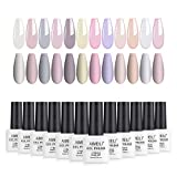 AIMEILI Gel Nagellack UV LED Gellack Farben Set 12 pcs 8ml Soak Off Nägel Farbgel Kit 3