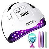 LED UV Nagellampe Nageltrockner für Nägel Gelnägel,180W professioneller mit 5 Timer Einstellungen,Auto-Sensor, LCD-Display, niedrige Wärme Geeignet für Nail Art zu Hause und Salon