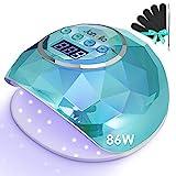 Janolia Nageltrockner Lampe, 86W LED UV Nagellampe mit Sensor LCD Display für Gelnägel, Professionelle Nagellampe für Fingernagel und Zehennagel Nageldesign mit 4 Timer, Geeignet für alle Gel
