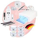 Nagelstudio Starter Set Basic für Gelnägel mit Lampe + Gel Made in Germany und allem Zubehör