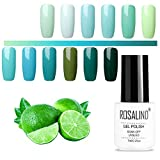 ROSALIND Gel-Nagellack-Set, Grün, UV-Nagellack, mehrfarbig, hochwertiger Base- und Überlack, Nail Salon-Sets, 12 Packungen, 7ml