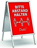 König Werbeanlagen Plakatständer Alu - Line DIN A1 beidseitig   inkl. 2 Plakate Bitte Abstand halten Danke! rot   Kundenstopper Gehwegaufsteller Werbetafel wetterfest