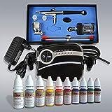 profi-pumpe.de Airbrush Kompressor Set Komplett Set- Mini Kompressor Carry II Black - mit Nail Set, Universal Airbrushpistole Double Action mit 0,2mm / 0,3mm / 0,5mm mm Nadel-/Düsen-Set