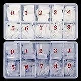 1000 Stück Falsche Nägel 10 Sizes Nail Tips Natürliche Künstliche Nagelspitzen Französisch Artificiel fingernägel Nageltips Fake Nägel Kunst Tipps mit Box für Damen Mädchen