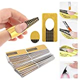 Nagel Schablonen, 200 Stück selbstklebende quare Modellier Schablonen Goldschablonen für Gel Nägel & Nagel Verlängerung, für die künstliche Fingernagel Modellage