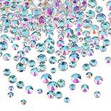 3456 Stücke Nagel Kristalle AB Nagel Kunst Strass Runde Perlen Flache Rückseite Glas Charms Edelsteine, 6 Größen für Nägel Dekoration Makeup Kleidung Schuhe (Gemischt SS4 5 6 8 10 12, AB Klar)