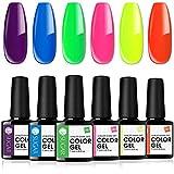 UR SUGAR 7.5ML UV Nagellack Neon Farbe Shellac Set UV Gel Farbgel Blau Rot Gelb Gel Farben Für Nägel Soak Off 6 Flaschen Kit für Halloween