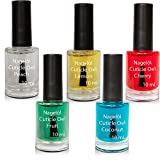 Nagelöl in einer Pinselflasche Set N°1, Peach, Lemon, Cherry, Fruits, Coconut 5x10ml