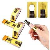 200 Stück Nagel-Schablonen, Pkouocry Modellier-Schablone selbstklebend für Gel-Nägel & Nagel-Verlängerung Golden Schablonen Nail Art Form Sticker