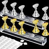 2 Set Acrylnagel Kunst Praxis Stands Magnetische Nagelspitzenhalter Training Fingernagel Displayständer DIY Nagel Kristallhalter und 96 Stück weißer Wiederverwendbarer (Gold und Silber)