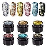 ROSALIND 5ml Esmaltes Semipermanentes de Uñas en Gel UV LED, Shiny Pink Series 6 Colors Diseño de uñas Gift Box …