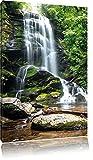 Pixxprint Wunderschöner tropischer Wasserfall, Format: 60x80 auf hochkantiges Leinwand
