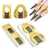 GOLRISEN 200 Stück Schablonen Nagelverlängerung Modellierschablonen Selbstklebend Nagel Schablonen SetGoldschablonen Nagelschablonen Verlängerung mit 2 Arten für UV-Gel Acrylfingernägel Nageldesign