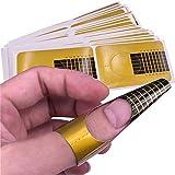 VOARGE Nagel-Schablonen (200 Stück), Modellier-Schablone selbstklebend für Gel-Nägel & Nagel-Verlängerung Golden Schablonen, selbstklebende Square für die künstliche Fingernagel-Modellage