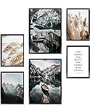 Heimlich® Premium Poster Set | OHNE Bilderrahmen | Stilvolles Set mit passenden Bilder als Wohnzimmer Deko | 2 x DIN A3 & 4 x DIN A4 - ca. 30x42 & 21x30 | » Boot Berge Pampas «