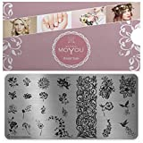 MoYou's XL Bridal 5 Stamping Schablone, Nail Art Stampling - Nagel Lack Stempel, Vögel, Rosen und Blumen Maniküre