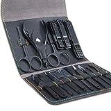 Leipple Maniküre Set Professionelles Nagelknipser Kit Pediküre Kit -16 stücke Pflegeset aus Edelstahl Nagelpflege Werkzeuge mit luxuriöser Leder Reisetasche (Schwarz)