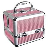 iGadgitz Home U7036 - Aluminium Kosmetikkoffer, Schminkkoffer, Beautycase, Makeupbox - 4x ausklappbare Fächer, großes Bodenfach & Tragegriff - Rosa - Klein