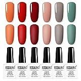 ROSALIND 6 Stück UV Farbgel Set,Gel-Nagellack Imprägniert das Design-Set für Nagellack-Set für,Nagel Kunst Farbgel Nagelgel …
