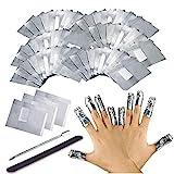 200 Stück Nail Polish Remover Wraps Pads, Ultradünnes Nagellack Remover Aluminiumfolie und 1 Stück Nagelhaut Schieber und 1 Nagelfeile Streifen, Hilfsmittel zum einfachen entfernen von Nagellack