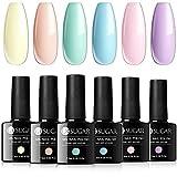UR SUGAR 7,5ML UV Nagellack Pastell Shellac Set Makrone Süss Süßigkeiten Gelnägel Farben Gel Nagellack UV Farbgel für Den Frühling 6PCS Kit