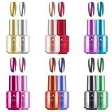 Freeorr 12 Farben Metallic-Nagellack, Langlebiger Magischer Metall-Spiegel-Effekt-Chrom Nagellack Kit-12pcs