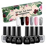UV Gel Nagellack Set 8er Permanent LED Nagellack Kit, Gellack Nagelgel mit Base Coat & Top Coat, Gel Polish für Nageltrockner Nageldesign Nägel Salon, Farbgel Rot Pink Weiß, Orange, Gelb, Grün(Hell)