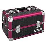anndora Beauty Case Kosmetikkoffer Schminkkoffer Werkzeugkoffer Schwarz Rot Karo