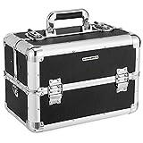SONGMICS Kosmetikkoffer schminkkoffer XXL groß für Gepäck, Alu multikoffer etagenkoffer mit Tragegurt 36,5 x 21 x 25,7 cm, Schwarz JBC228