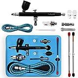 Display4top Airbrushpistole,Double Action Airbrush Kit,mit 0,2 mm / 0,3 mm / 0,5 mm Düse und Nadel, 7CC Cup,für Tattoos, Kuchen, Nailart Make up und DIY