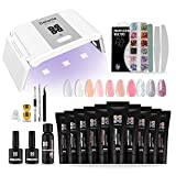 Poly Nagel Gel Set Nagelverlängerung Kit für Nägel 10 Farben mit Mini UV Lampe, 10pcs Maniküre Werkzeuge+Base&Top Coat+Slip Solution komplett Nagelstudio-Set