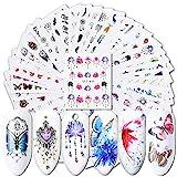 ValianhAgen Nagelsticker, Wasserzeichen, Blumen, Schmetterlinge, 40 Stück multi