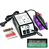 HENGMEI 12W Elektrisch Nagelfräser Nagelfeile Maniküre Pediküre 20000 U/Min Bohrgeraet Maschine Nagelstudio-Sets (Schwarz)
