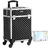 SONGMICS Kosmetikkoffer, Trolley, Make-up Koffer, Schminkkoffer, mit Griff, mit 4 Universalrollen, mit 4 ausziehbaren Fächern, für Reisen, schwarz JHZ013B01