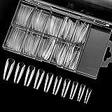 Ealicere 120 Stücke Acryl Falsche Nagel, Lange Sargform Natürliche Nagel Tips Künstlich Nagelspitzen Fake Nails mit Klar Box, 10 Größen