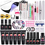 36W Nagellampe Poly Nagelgel Set, TopDirect 6 Farben Acryl Verlängerung Nagelgel Set + 4 Farben Gel Nagellack mit Base Top Coat, 100pcs Nägel Tips, Komplette Nagelstudio Set