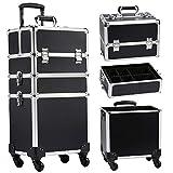 Kosmetikkoffer Trolley Großer Schminkkoffer , 3-in-1 Friseurkoffer Make up Koffer mit Rollen , abschließbarer und tragbarer Kosmetik Trolley Multikoffer,schwarz