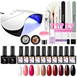 Shelloloh UV Gellack Starter Set 10pcs Nagellack Nageldesign Set UV Gel Nägel 36W UV/LED Nagellampe Base&Top Coat Maniküre Set Farbgel Nagelstudio Set