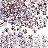 3456 Stücke Nagel Kristalle AB Nagel Kunst Strass Runde Perlen Flache Rückseite Glas Charms Edelsteine, 6 Größen für Nägel Dekoration Makeup Kleidung Schuhe (Gemischt SS4 5 6 8 10 12, Kristall AB)