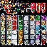 Kalolary 4 Boxen Schneeflocke Nagel Pailletten, Holographische 3D Weihnachten Schneeflocke Nagel Pailletten Laser Sparkly Schneeflocke Konfetti für Weihnachtsfeier Nail Art Dekoration