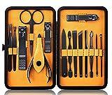 Maniküre Set Professionelles Nagelknipser Kit Pediküre Kit -15 stücke Edelstahl Nagelpflege Werkzeuge mit luxuriöser Leder Reisetasche (Schwarz Gelb)