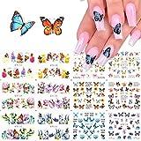 MWOOT 12 Blatt Butterfly Nail Art Sticker,Schmetterling Nagelaufkleber Abziehbilder Nagel Wassertransfer Abziehbilder für DIY Nagel Kunst Dekoration