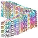 288 Stücke Nagel Vinyl Schablonen Nagel Kunst Dekoration Aufkleber Set Nail Art Design Aufkleber Tipps Decals, 24 Blatt